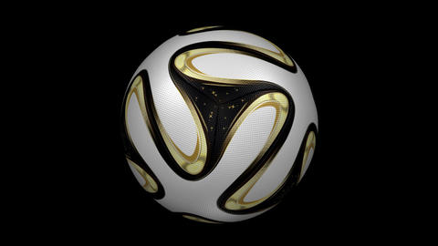 Soccer Ball - Brazuka Gold - Loop - Alpha stock footage
