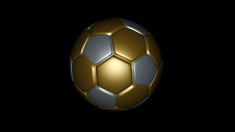 Soccer Ball - Metallic - Loop - Alpha Stock Video Footage