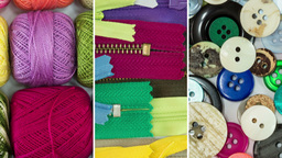 Sewing Thread Buttons And Zippers Crafting Collage stock footage