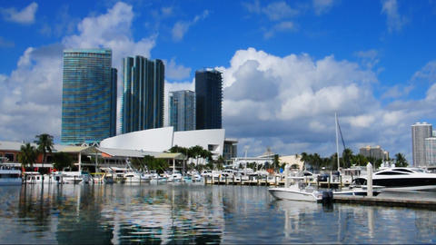 Bayside Marina in Miami Stock Video Footage