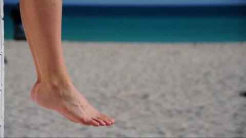 Woman relaxing at the beach Stock Video Footage