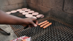 Hot Dogs On A Grill stock footage