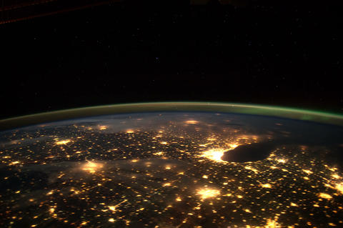 citylights iss 20120131 High Res 4k Stock Video Footage