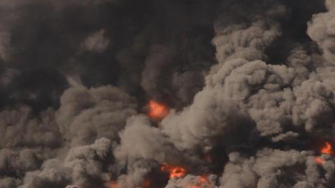 Fire Industrial Firefighters Battle Blaze In Packa stock footage