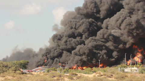 Firefighters Battle Blaze In Packaging Factory Ind stock footage