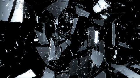 4K smashed and Shattered glass with slow motion. A Animation