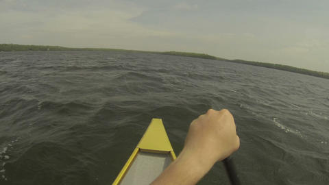 Point of view of rower on a canoe Footage