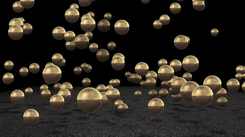 Bounding gold sphere's Stock Video Footage