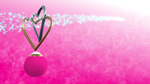 Heart ring with sphere Stock Video Footage