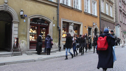 Tourists In The Old Town In Warsaw, Poland stock footage