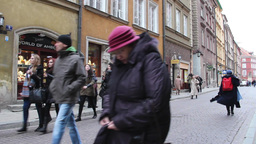 Tourists in the old town in Warsaw, Poland Stock Video Footage