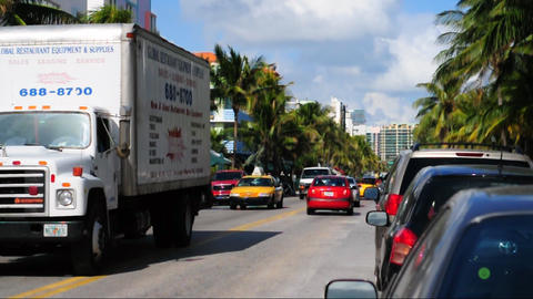 Ocean Drive Traffic stock footage