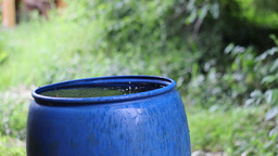 Blue rain water tank. Water collecting to a barrel Stock Video Footage