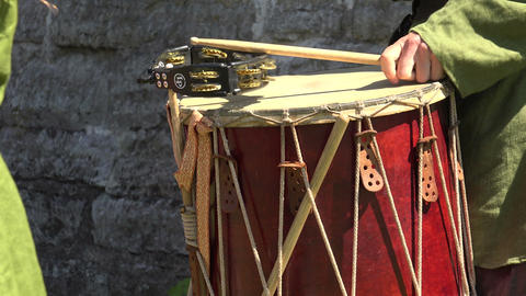Drum. Percussion instrument. 4K Stock Video Footage