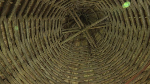 The wooden Ceiling of the castle tower. Old Ladoga Stock Video Footage