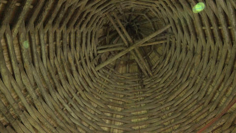 The wooden Ceiling of the castle tower. Old Ladoga Footage