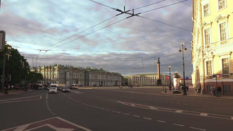 The palace square in st. Petersburg. 4K Stock Video Footage