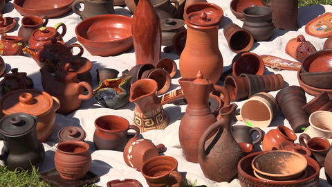 Ceramic and clay pots. 4K Stock Video Footage