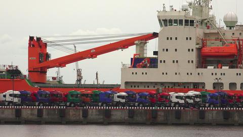 Trucks on the pier. Port. 4K Footage