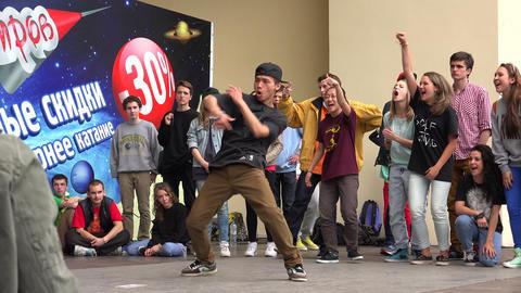 Young guy dancing rap, break. 4K Stock Video Footage