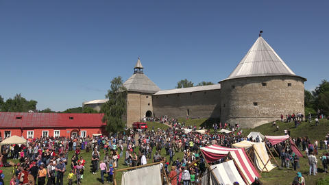 A crowd of people near the fortress of Old Ladoga. Stock Video Footage