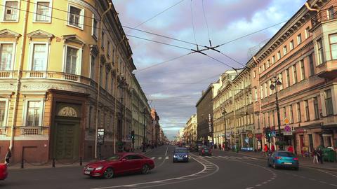 Nevsky prospect. Saint-Petersburg. 4K Stock Video Footage