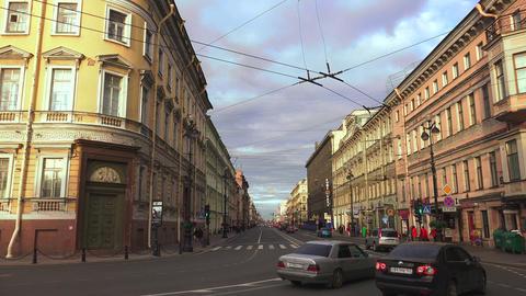 Nevsky prospect. Saint-Petersburg. 4K Footage