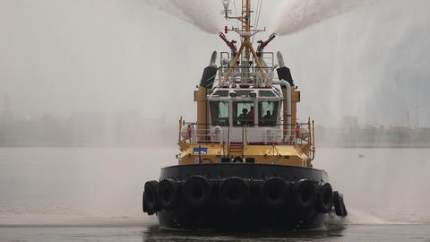 Fire boat. Hose. 4K Footage