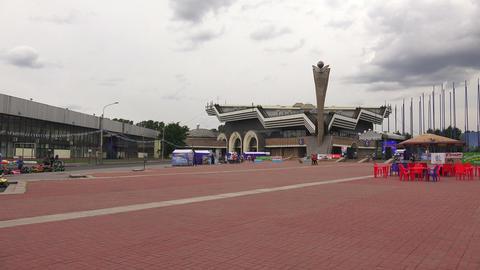 Pavilion of Lenexpo in St. Petersburg. 4K Stock Video Footage
