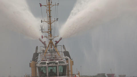 Fire boat. Hose. 4K Stock Video Footage