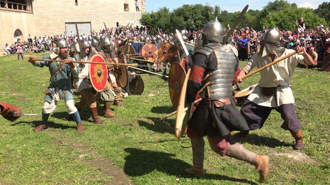 A Battle. The Fight Of The Vikings. 4K stock footage