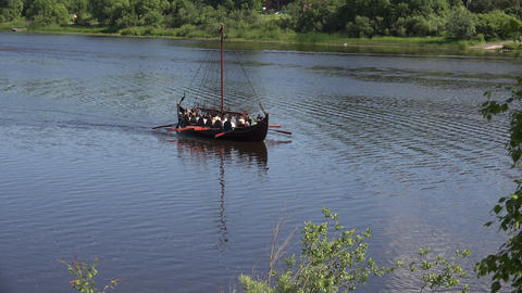Combat Viking ship. 4K Stock Video Footage
