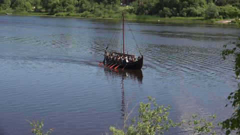 Combat Viking ship. 4K Footage