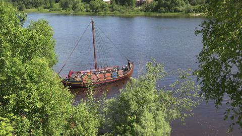 Combat Viking ship. 4K Stock Video Footage