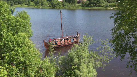 Combat Viking Ship. 4K stock footage
