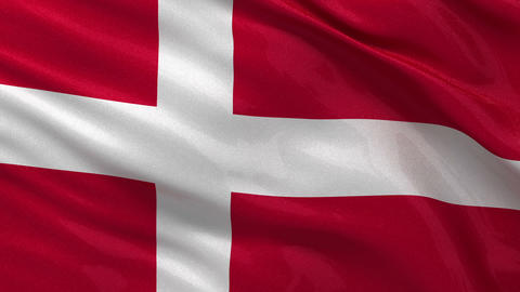 Flag of Denmark seamless loop Stock Video Footage