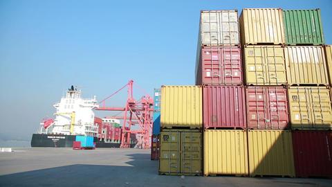 IZMIR, TURKEY - JANUARY 2013: Freight ship moored Stock Video Footage