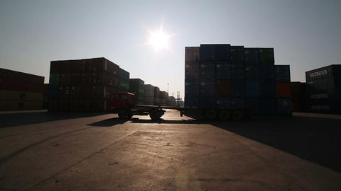 IZMIR, TURKEY - JANUARY 2013: Moving freight conta Stock Video Footage