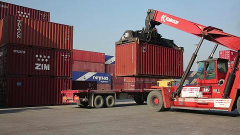 IZMIR, TURKEY - JANUARY 2013: Moving freight conta Stock Video Footage
