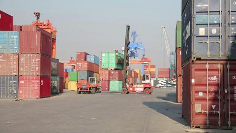 IZMIR, TURKEY - JANUARY 2013: Moving freight conta Footage