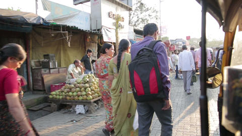 MUMBAI, INDIA - MARCH 2013: Busy street market sce Footage