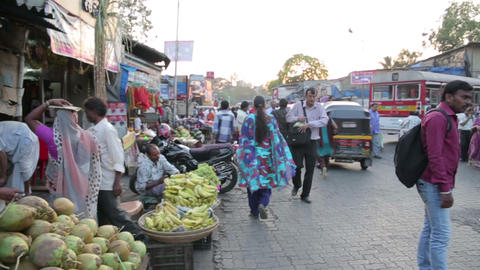 MUMBAI, INDIA - MARCH 2013: Busy street market sce Stock Video Footage