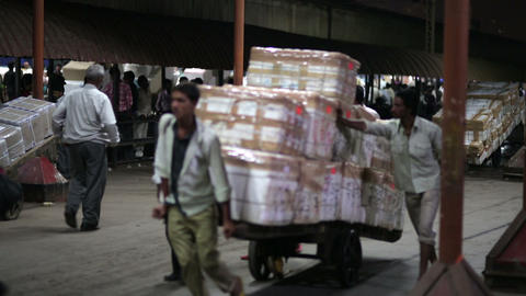 MUMBAI, INDIA - MARCH 2013: Goods transported on p Stock Video Footage
