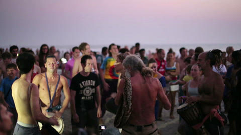 GOA, INDIA - MARCH 2013: People dancing on beach Stock Video Footage