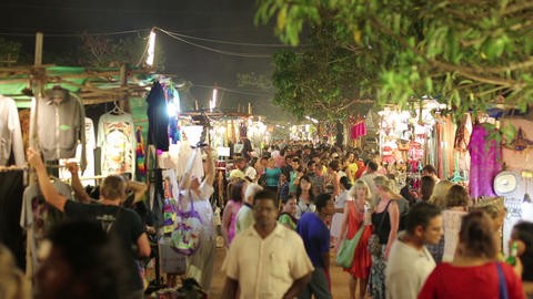 GOA, INDIA - MARCH 2013: Tourists in traditional s Stock Video Footage