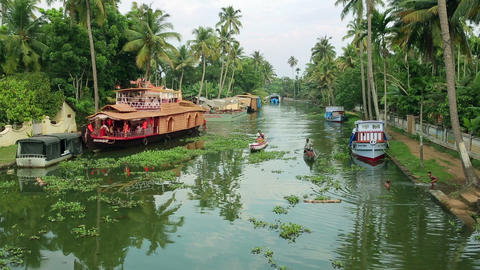 ALLEPPEY, INDIA - MARCH 2013: Local people travell Stock Video Footage