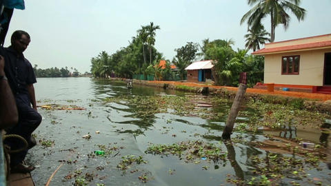 ALLEPPEY, INDIA - MARCH 2013: People travelling in Stock Video Footage