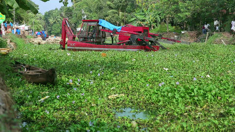 ALLEPPEY, INDIA - MARCH 2013: Floating Digger At W stock footage