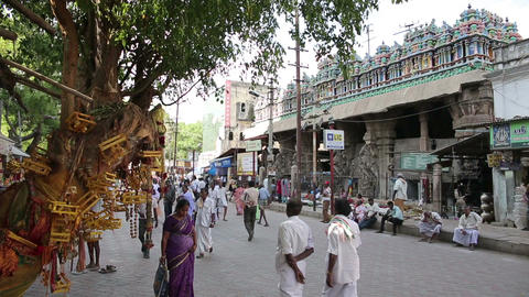 MADURAI, INDIA - MARCH 2013: Busy street scene Stock Video Footage