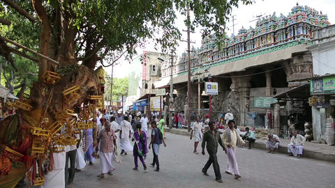 MADURAI, INDIA - MARCH 2013: Busy street scene Footage